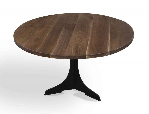 Farm Tables - Round Walnut Top Table with Black Steel Pedestal Base