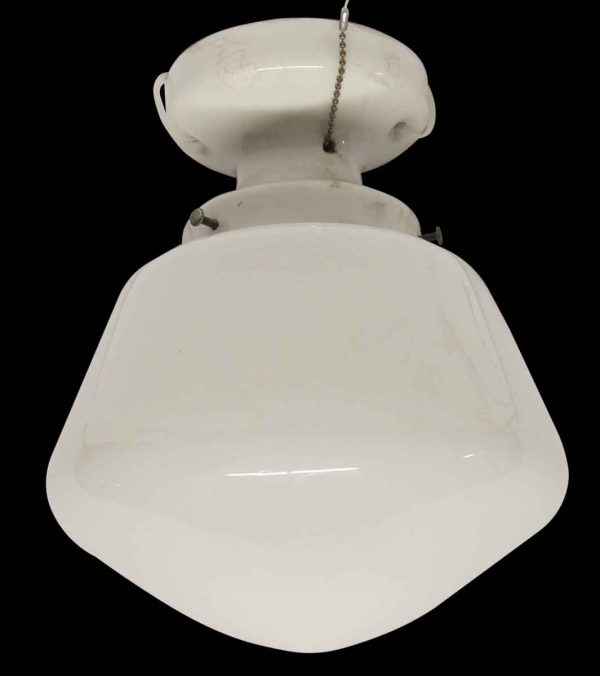Flush & Semi Flush Mounts - Simple School House Milk Glass Globe with Porcelain Fitter