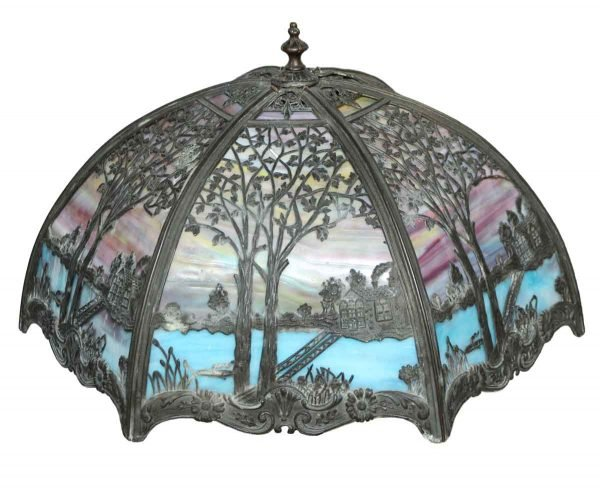 Globes & Shades - Stained Glass Scenic Lamp Shade
