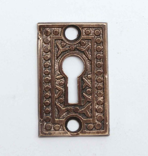 Keyhole Covers - Antique Brass Rice Pattern Keyhole Cover