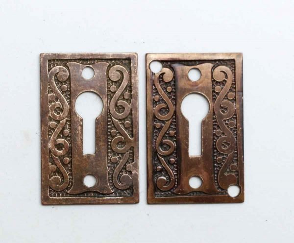 Keyhole Covers - Pair of Antique Brass Keyhole Covers
