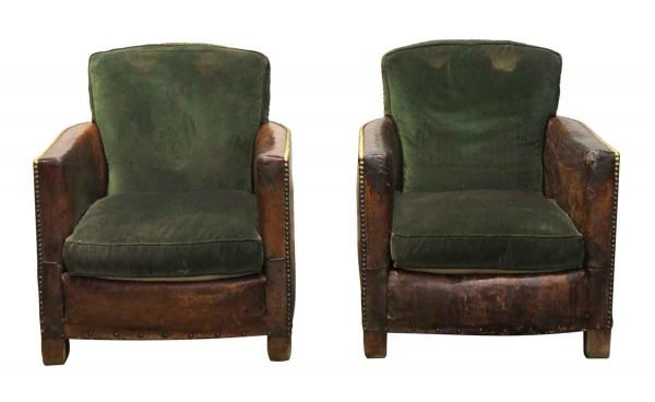Living Room - Pair of Leather Club Chairs with Green Cushions