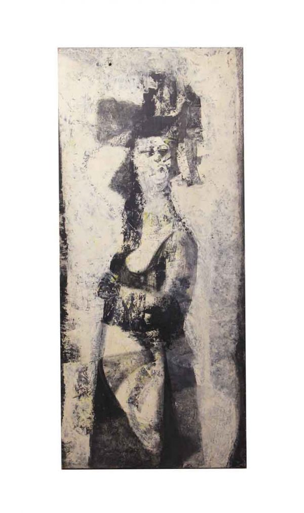 Paintings - Tall Abstract Society Lady Canvas Portrait