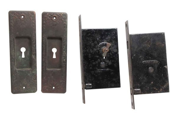 Pocket Door Hardware - Brass Mortise Lock & Pocket Door Plate Set