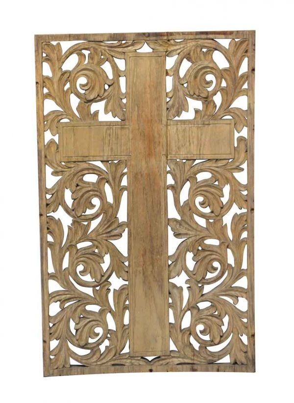 Religious Antiques - Carved Wooden Cross Wall Art