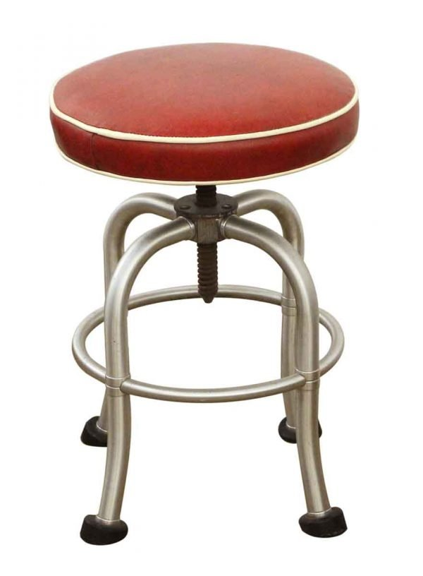 Seating - Warren McArthur Red Leather Stool