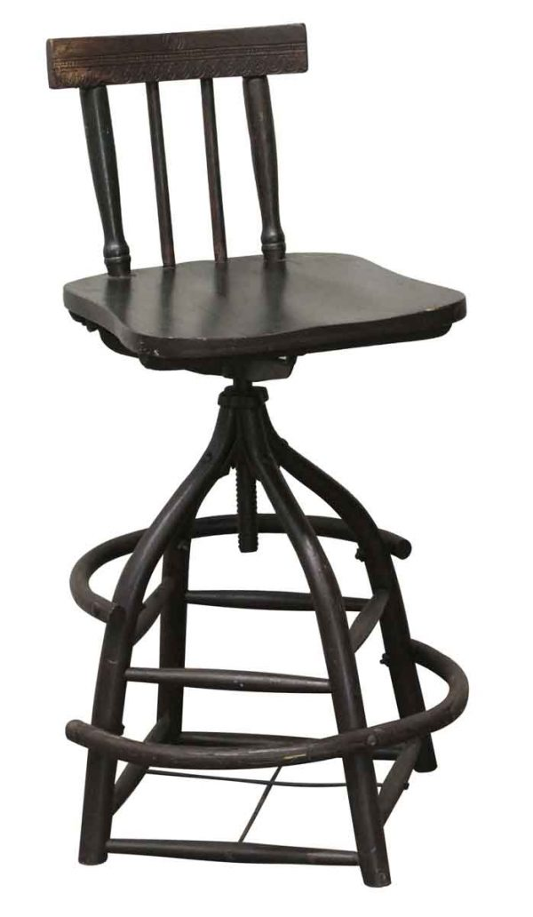 Seating - Wooden Stool with Back and a Wide Base