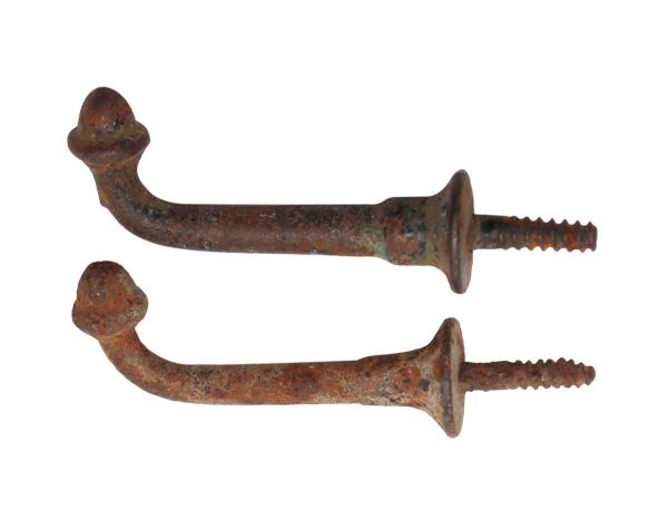 Single Hooks - Pair of Cast Iron Acorn Hooks