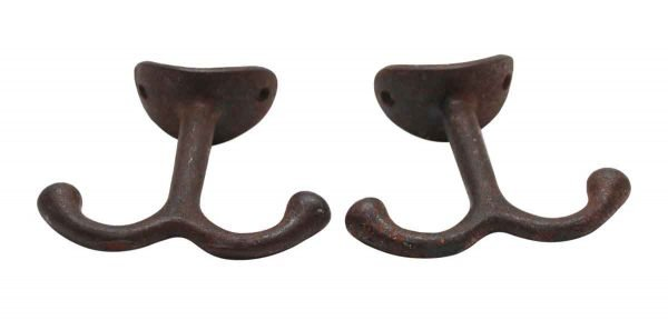 Single Hooks - Pair of Double Arm 1.625 in. Cast Iron Wardrobe Hooks