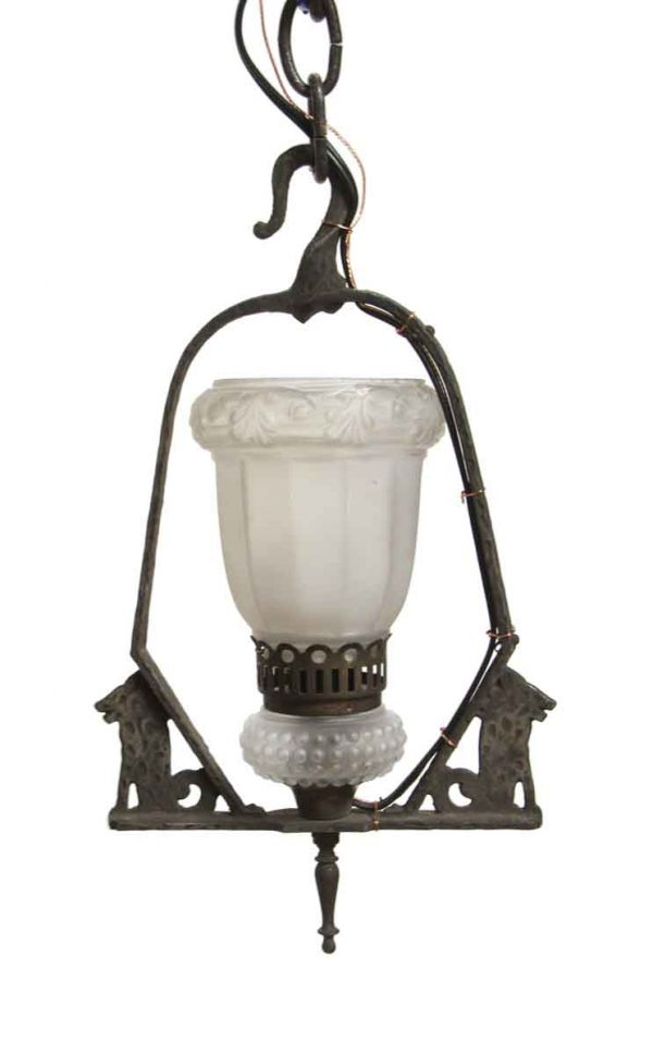 Wall & Ceiling Lanterns - Restored Cast Iron Figural Hammered Light Fixture