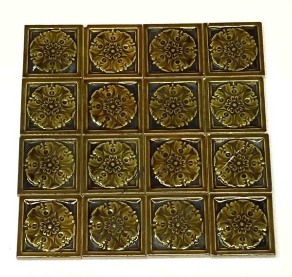 Wall Tiles - Set of 3 x 3 Small Brown Floral Tiles