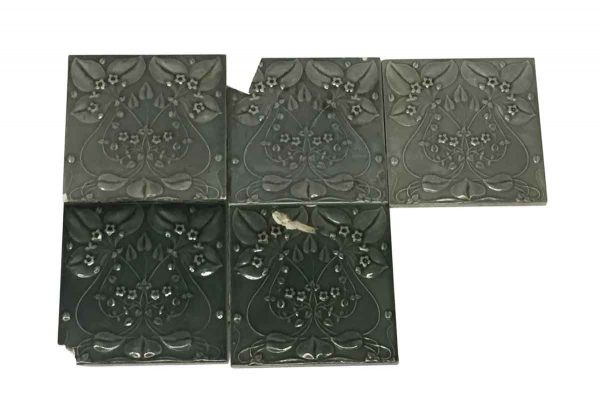 Wall Tiles - Set of Art Nouveau Floral 6 x 6 Gray Square Tiles