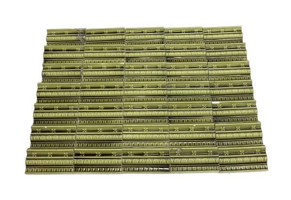 Bull Nose & Cap Tiles - Antique Green Flower Edge Tile Set
