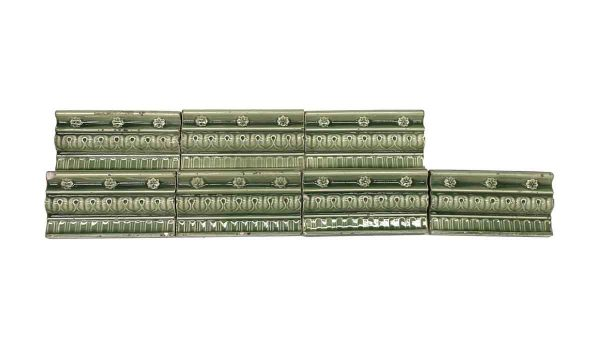Bull Nose & Cap Tiles - Muted Green Floral Edge Tile Set