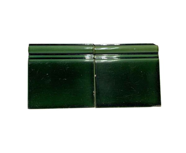 Bull Nose & Cap Tiles - Pair of 6 x 6 Green Baseboard Wall Tiles