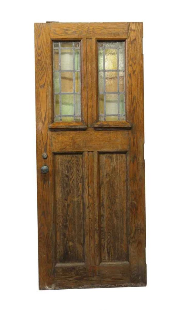 Commercial Doors - 83 x 34 Solid Oak Chapel Doors with Stained Glass