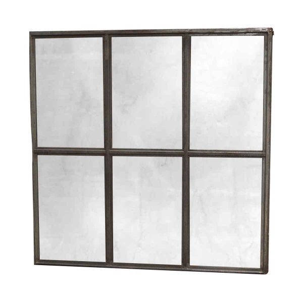 Copper Mirrors & Panels - Salvaged Window Frame with Distressed Silvered Mirror