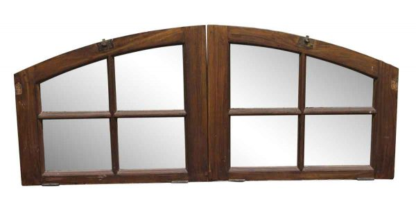 Door Transoms - Pair of Arched Wooden Transom Windows