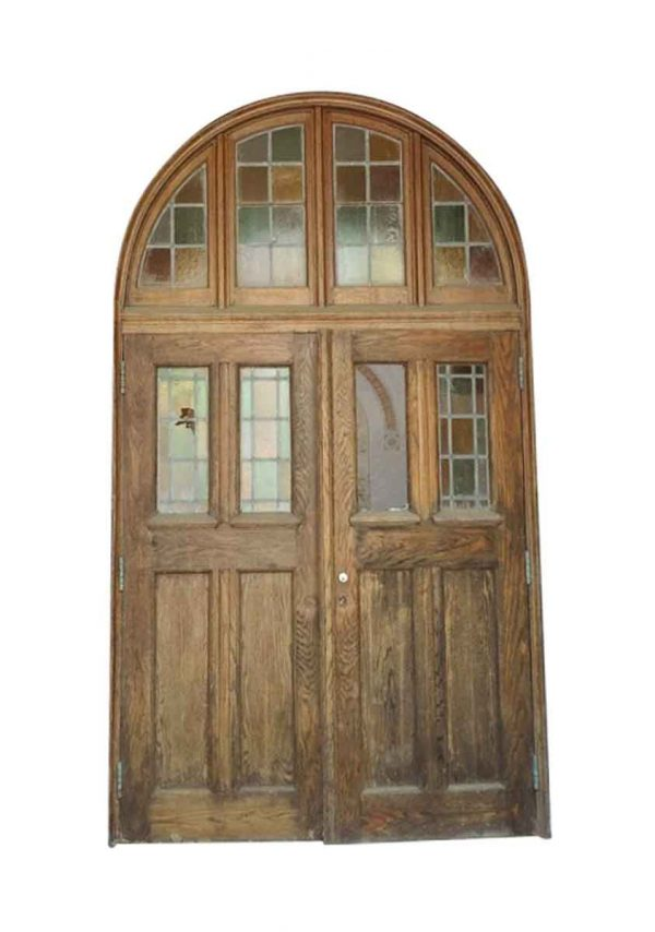 Entry Doors - 10 ft Entrance to Rose Hill Chapel with Leaded Doors