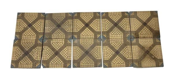 Floor Tiles - 6.75 x 6.75 Tan & Blue Tile Floor Set