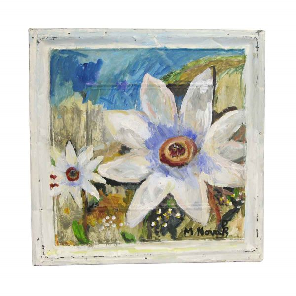 Hand Painted Panels - White Flower Mladen Novak Panel