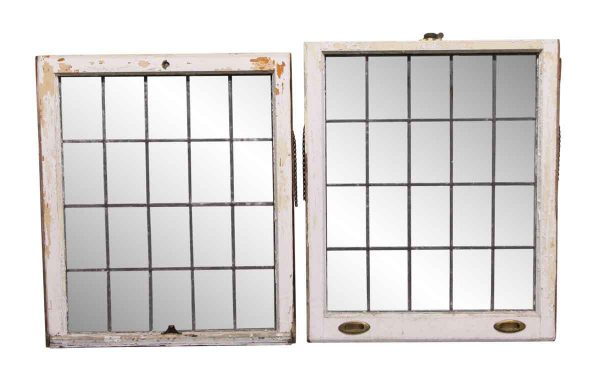 Leaded Glass - 69 in. H Pair of Double Hung Leaded Antique Glass Windows