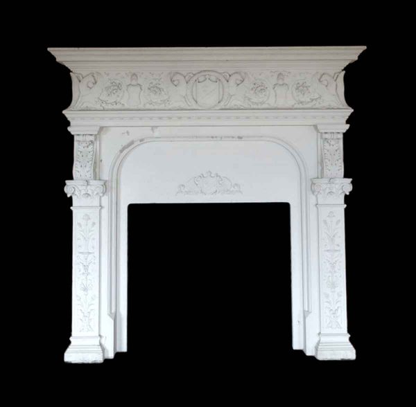 Mantels - Huge Carved White Limestone Mantel from Rose Hill Mansion