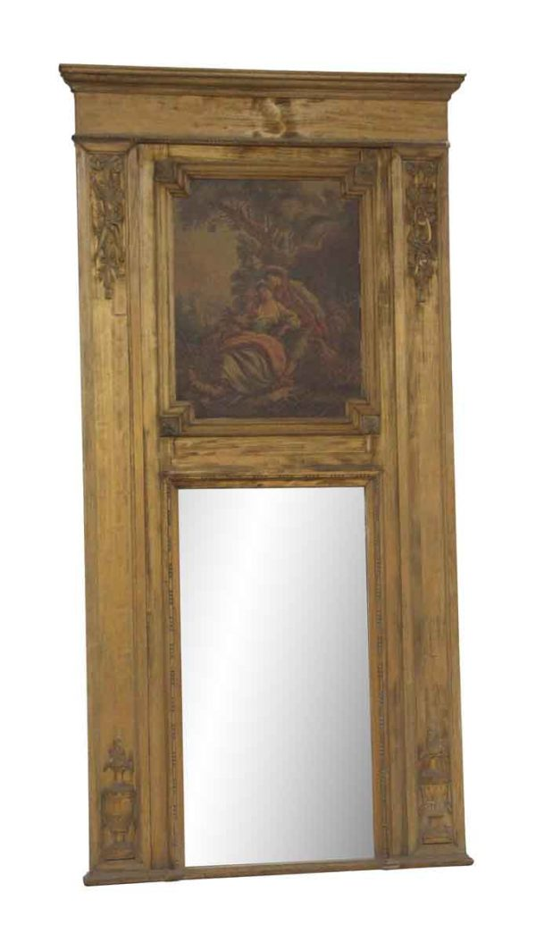 Overmantels & Mirrors - Carved Hand Painted Figural Overmantel Mirror