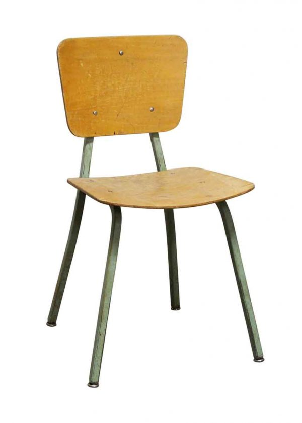 Seating - Salvaged School Chairs with Green Metal Legs from Rose Hill