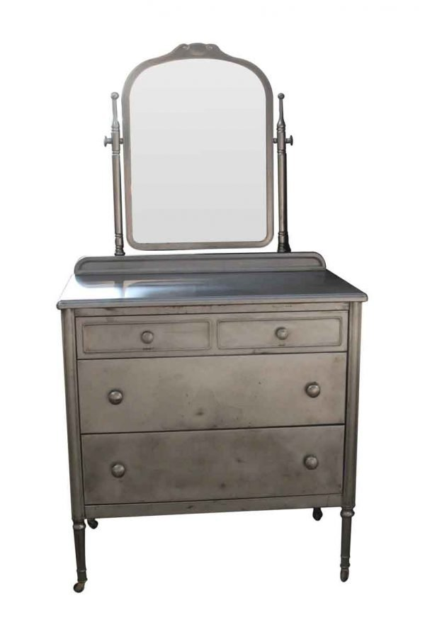 Bedroom - Stripped 1930s Steel Dresser with Mirror