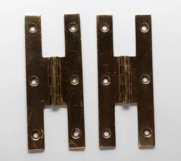 Cabinet & Furniture Hinges - Pair of Brass H Shaped Cabinet Hinges