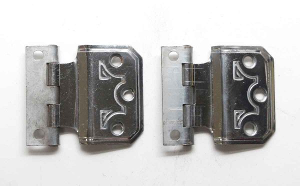 Cabinet & Furniture Hinges - Pair of Modern Chrome Face Mount Cabinet Hinges