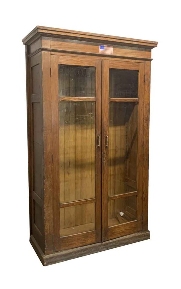 Cabinets - Standing Oak Display Cabinet with Glass Front Doors