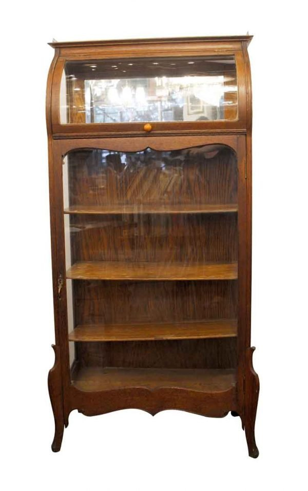 Cabinets - Wooden Antique Curio Cabinet with Curved Glass Top & Beveled Mirror