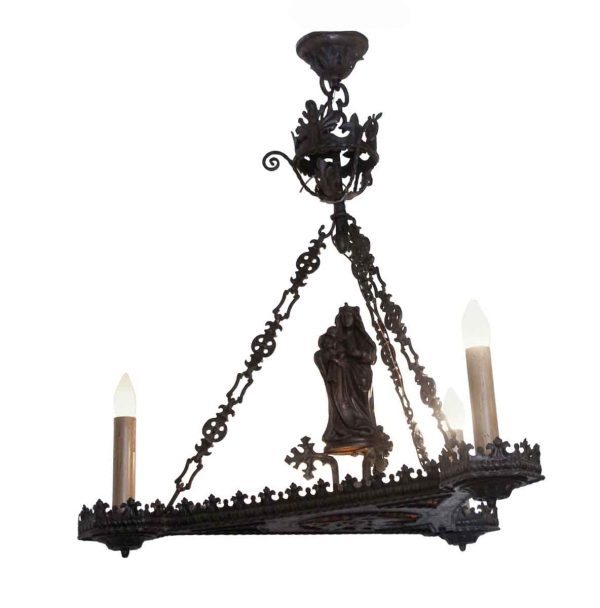 Chandeliers - Figural Chandelier with Mica Inset & Hand Carved Wood Statue