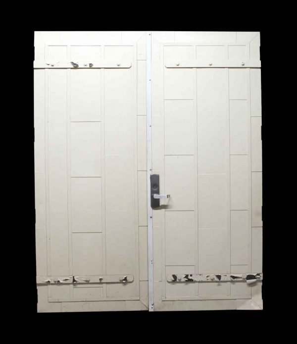 Commercial Doors - Pair of Painted White Fire Doors with Push Bar