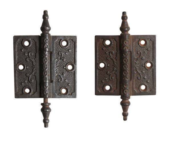 Door Hinges - Antique Iron Victorian 3 x 3 Butt Hinges with Steeple Tips