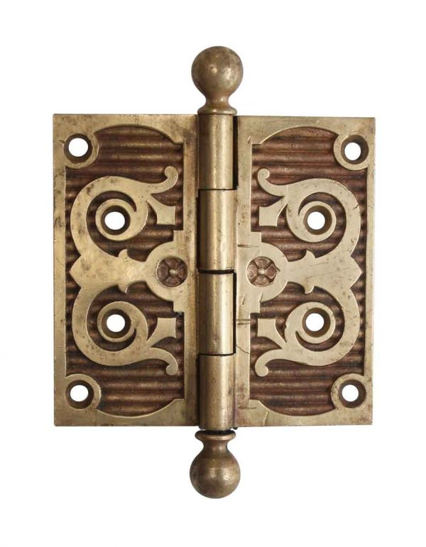 Door Hinges - Victorian Heavy Brass 4 x 4 Ball Tip Butt Door Hinge