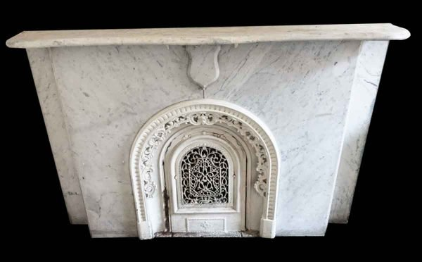 Marble Mantel - Simple New York Brownstone White Carrara Marble Mantel
