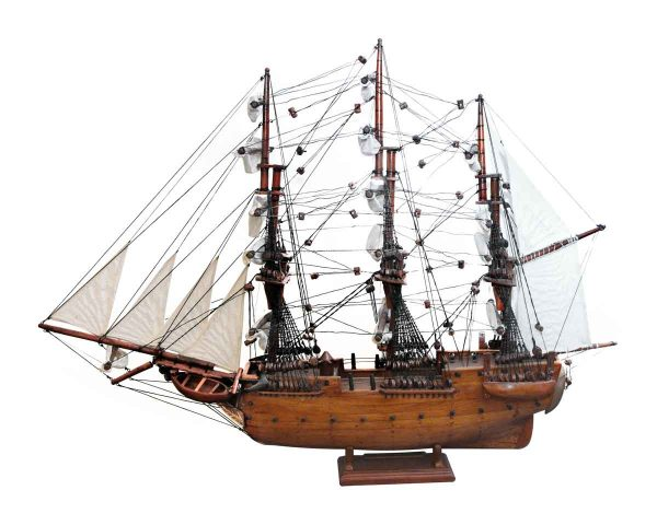 Nautical Antiques - Wooden & Canvas Handmade Model Ship Stamped Constitution