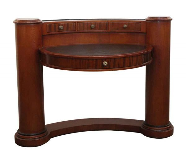 Office Furniture - Enrique Garcel Half Circle Wood Desk with Pillars & Leather Top