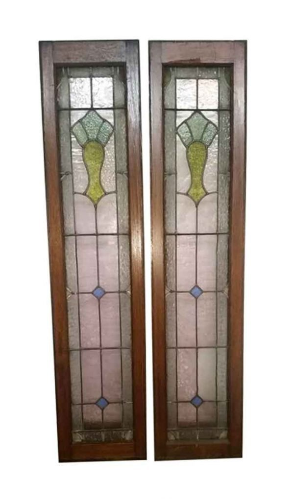 Reclaimed Windows - Pair of Wood Framed Stained Glass Windows