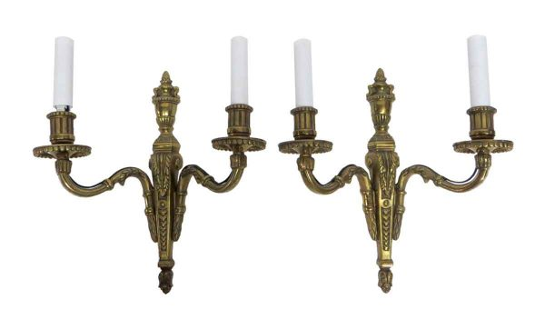 Sconces & Wall Lighting - Pair of French Two Arm Bronze Scones