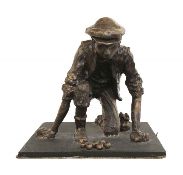 Statues & Sculptures - Bronze Sculpture of a Boy Playing Marbles