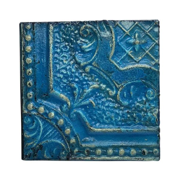 Tin Panels - Blue Beaded Corner Tin Panel