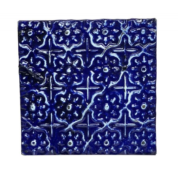 Tin Panels - Royal Blue Shellac Floral Grid Tin Panel