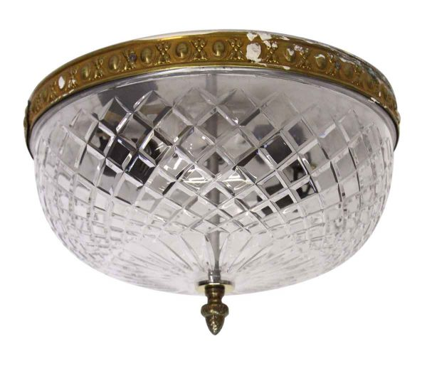 Waldorf Astoria - Large Cut Crystal Flush Mount Light with Brass Rim