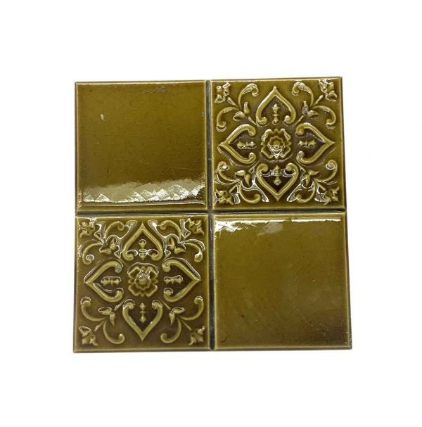 Wall Tiles - Mustard Yellow 4 Fold Floral 6 x 6 Tile