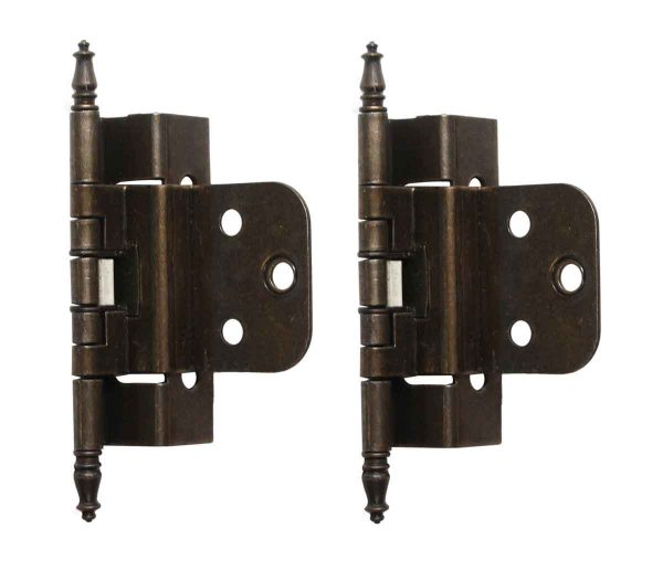 Cabinet & Furniture Hinges - Pair of Steeple Tipped Partial Wrap Brass Hinges