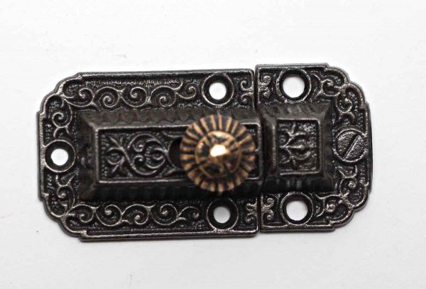 Cabinet & Furniture Latches - Antique Cast Iron Ornate Cabinet Latch with Bass Knob